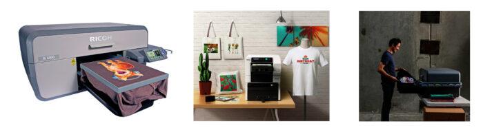 Textilskrivare från Ricoh för utskrifter direkt på textilier som T-shirtar, tygväskor, linnen, hoodies